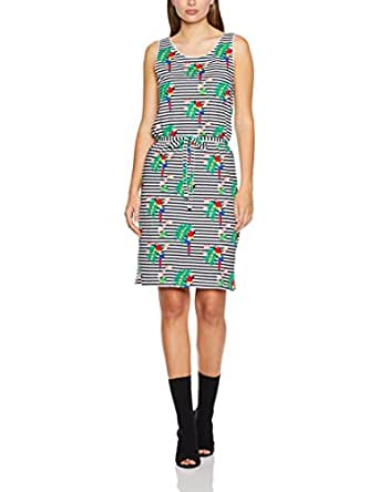 French Connection Women's Parrot Stripe Jersey Dress,Summer White/Multi,10