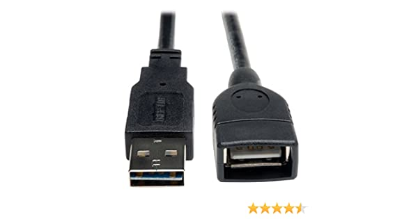 Reversible A to A M//F UR024-010 10-ft. Tripp Lite Universal Reversible USB 2.0 Hi-Speed Extension Cable ,Black
