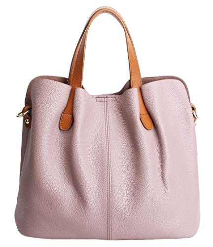 Molodo Womens Satchel Hobo Top Handle Tote Geuine Leather Handbag Shoulder Purse,Pink,X-Large