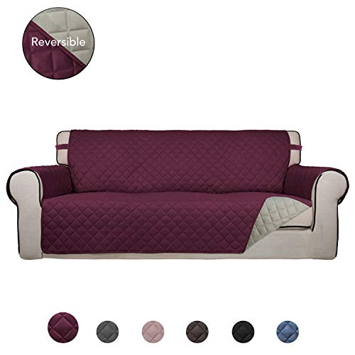 PureFit Reversible Quilted Sofa Cover, Water Resistant Slipcover Furniture Protector, Washable Couch Cover with Anti-Slip Foam and Elastic Straps for Kids, Dogs, Pets (Sofa, Wine/Beige) Burgundy Leather Reclining Sofa