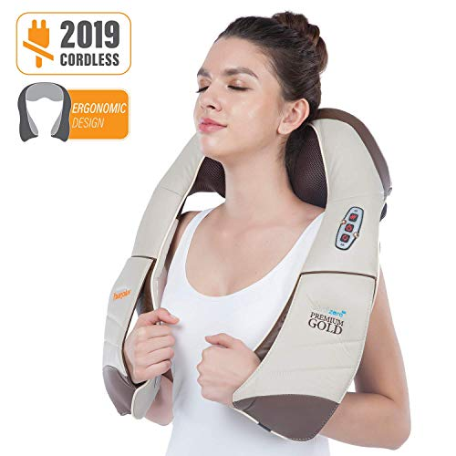 (Hueplus CORDZERO-5500 Cordless Premium Shiatsu Back, Neck and Shoulder Massager, Deep Kneading Massage Pillow with Heated 3D Tension Technology - FDA Registered)