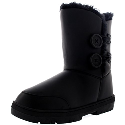 Womens Twin Button Waterproof Winter Snow Boots Black Leather