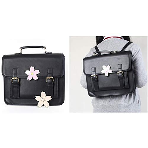 De Ploekgda Gran Monedero color Sakura Black Motivos Mochila Ligero Capacidad Florales Volver Pu Brown Cuero Con 500Sp