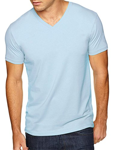 Mens Fitted Tee (Next Level Apparel 6440 Mens Premium Fitted Sueded V-Neck Tee - Light Blue,)