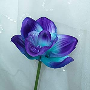 Lily Garden Artificial Flowers Purple Turquoise Orchid Stem Real Touch Flowers Set of 12 Stems 3