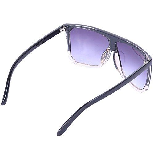 hombres negro superior de la vendimia Gafas Top tamano S17027 SODIAL Negro Flat los Moda sol sol Top de de Mujer mujeres de gran de de y Gafas las AAnFqHw61