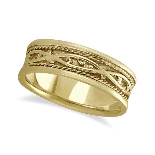 Hombre Irlandés Hecho A Mano Celtic Anillo De Bodas De Oro Amarillo De 14 K (