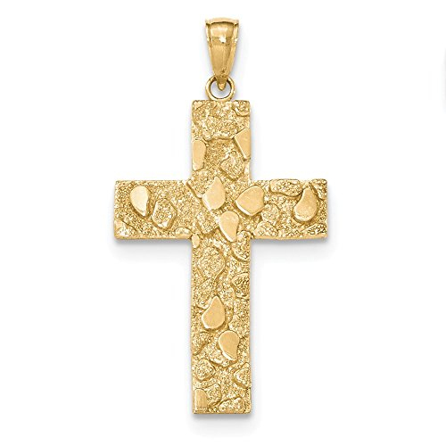 - 14K Gold Polished and Textured Nugget Block Style Cross Pendant