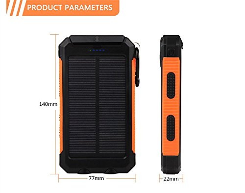 Price comparison product image Waterproof 300000mAh Portable Solar Charger Dual USB Battery Power Bank F Phone#Orange