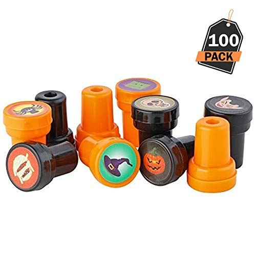 100 Piece Halloween Stamps Kids Self-Ink Stamps with 25 Assorted Designs, Spooky Stamps, Plastic, Trick Or Treat Stamps, for Halloween Goodies Bags and Halloween Party Favors