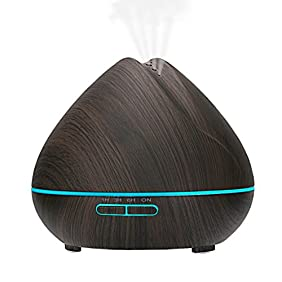 Aroma Essential Oil Diffuser,400ml Ultrasonic Cool Mist Humidifier for Large Room-Wood Black