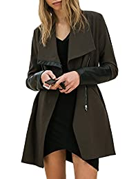 ACHICGIRL Women Color Block PU Leather Paneled Open Front Belted Trench Coat