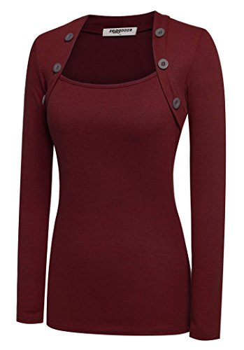 (Zeagoo Womens Square Neck Ruched Tops Long Sleeve Blouse Wine Red)
