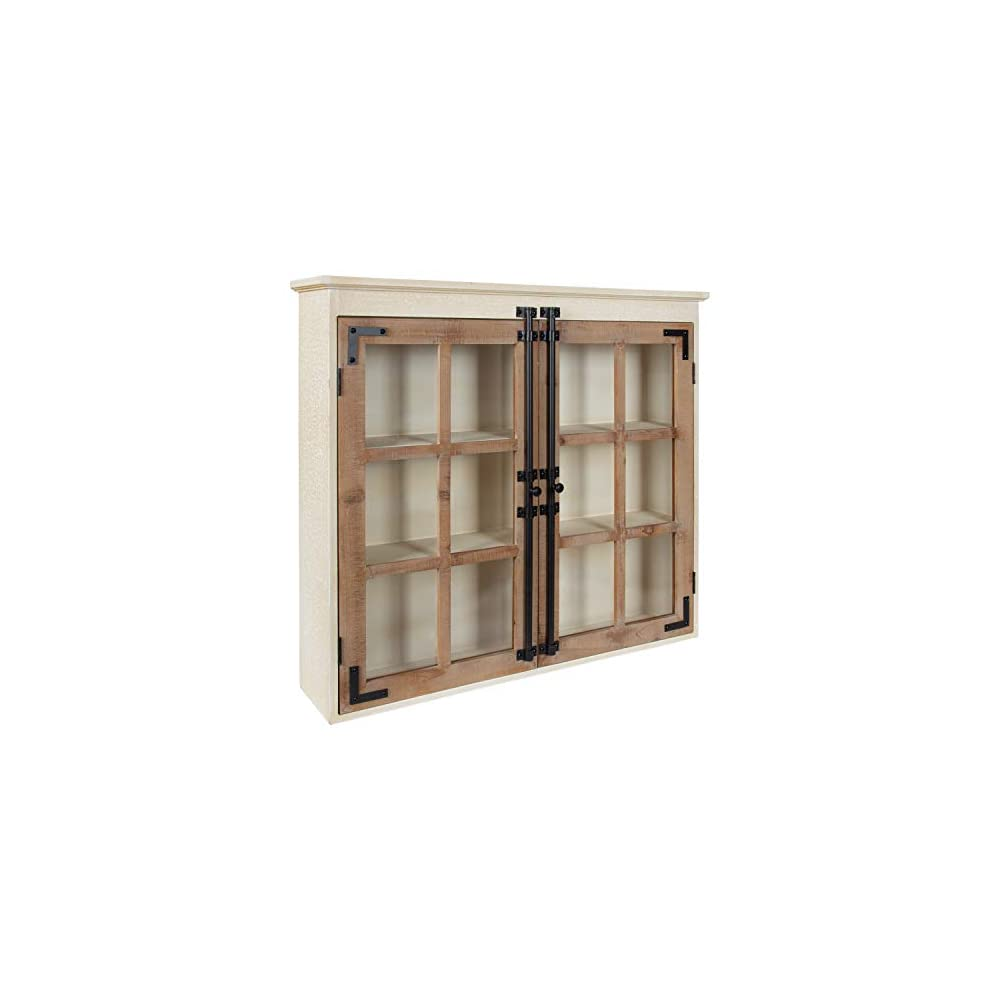 Kate and Laurel Hutchins Decorative Farmhouse Wood Wall Cabinet, 30 x 6.5 x 27.5, White and Brown, Wall Cabinet with…