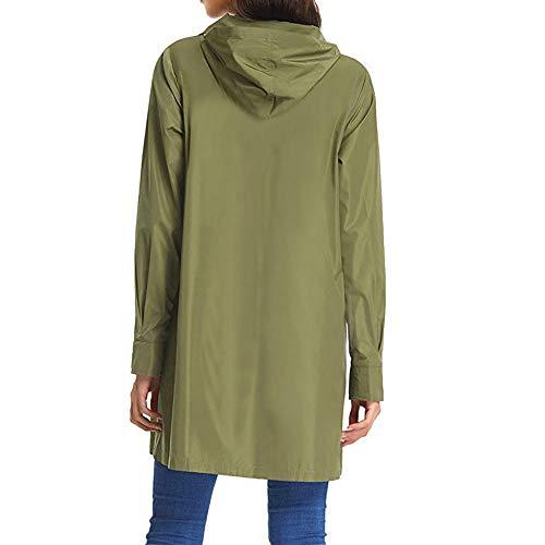 Verde Lunga Cappotto Cappuccio Elecenty Bottone Donna Con Autunno Cardigan Manica Aperto vwqxn8gq