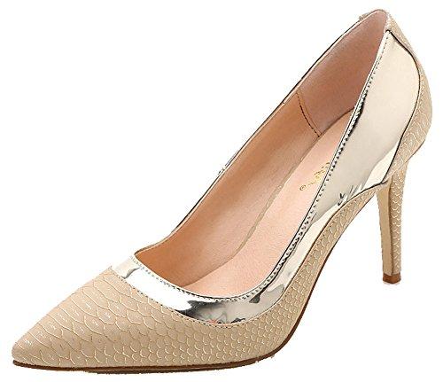 Stiletto Shoes Gold Heels Pointed Court Women's Sexy Snakeskin Toe High Aisun zw7XqSH