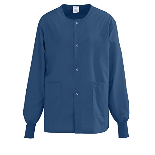 Angelstat Snap - Medline AngelStat Snap-Front Warm-Up Scrub Jacket, Large, Navy