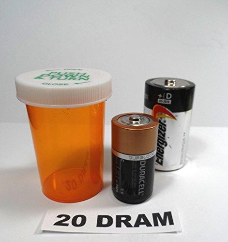 Plastic Prescription Vials/Bottles 100 Pack w/Caps Large 20 Dram Size-NEW ()