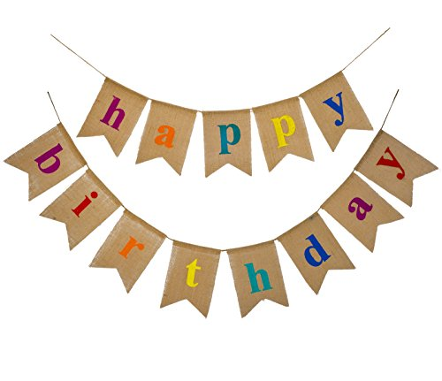 Fecedy Colorful Alphabet Happy Birthday Burlap Banner For Birthday Party Decorations