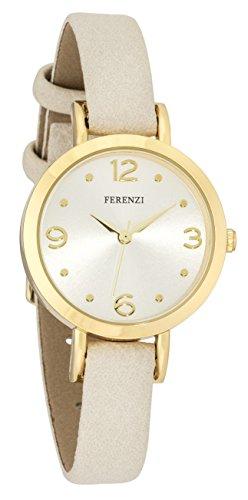 Ferenzi Women's | Chic Feminine Small Gold Watch with Beige Thin PU Leather Band | FZ17302 (Beige Leather Watch)