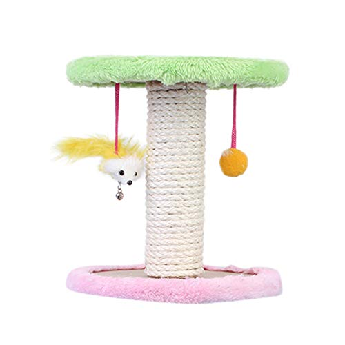 Norbi Cat Tree 2 Tier with 2 Hanging Plush Toys Interactive Scratching Post Wrapped by Sisal Rope