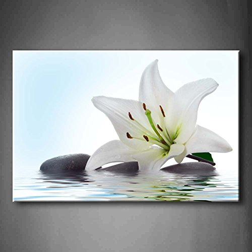 First Wall Art - White Madonna Lily And Stone In Water Wall Art Painting The Picture Print On Canvas Flower Pictures For Home Decor Decoration Gift (Stretched By Wooden Frame,Ready To Hang) ()