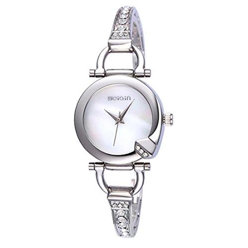 Fashion Watches WEIQIN 2720 Impressionism Scale Shell Dial Fashion Women Quartz Watch with Alloy Band Horseshoe Decoration Bracelet (SKU : S-WA-0356SW)