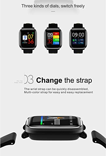 Bluetooth Smart Watch:All-Day Heart Rate and Activity Tracking, Sleep Monitoring, GPS, Ultra-Long Battery Life, Bluetooth, (Black-Blue) by FOKECCI (Image #7)