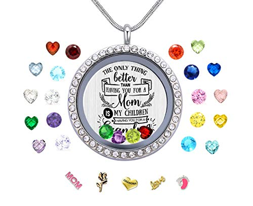 Vinncy Mother's Day Birthday Xmas Gift, Floating Memory Living Charms Lockets, Women Stainless Steel DIY Pendant Necklace with ()
