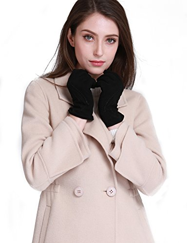 YISEVEN Women's Lambskin Suede Leather Gloves Thin and Long Stylish Water Ripple Design Silky Polyester Lined Hand Warm Heated Lining for Ladies Winter Dress Driving Work Luxury Xmas Gifts, Black (Lamb Suede)