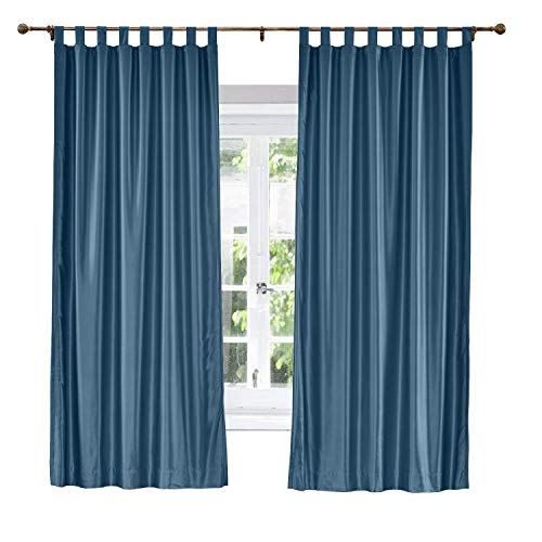 ChadMade Elegant Vintage Polyester Cotton Silk Thermal Insulated Curtain Navy 120