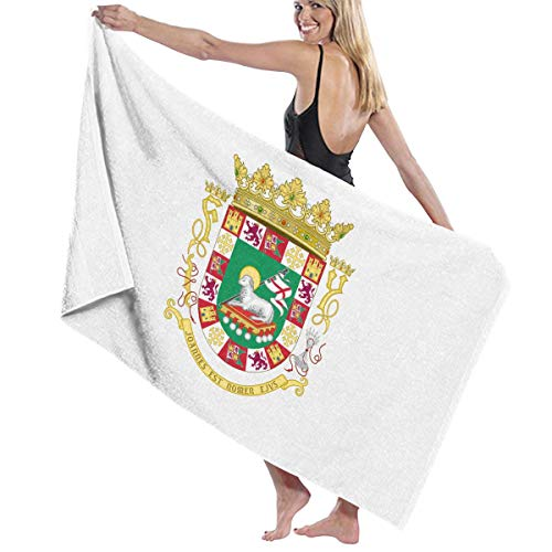 滑るベーシックくまビーチバスタオル バスタオル プエルトリコ国旗の紋章 タオル 海水浴 旅行用タオル 多用途 おしゃれ White