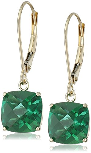 10k Yellow Gold Cushion-Cut Checkerboard Created Emerald Leverback Earrings (8mm)