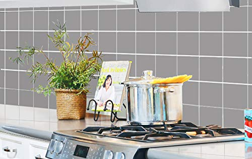 SERENITA Heat Resistant Waterproof Kitchen Sheet Blacksplash DIY Tile Stickers, Decorative Removable Peel Off Decals, for Kitchen Bathroom Livingroom, Flame-Resistant, 16.6x27.5 inch (Grey White)
