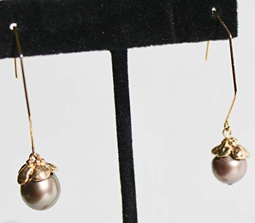 Natural Tahitian gray/chocolate round pearls with 14K solid gold flower caps