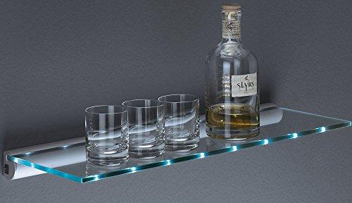 Glasregal LED Regal | Batteriebetrieb - ohne Kabel | 2 Größen | 800x200x8 mm