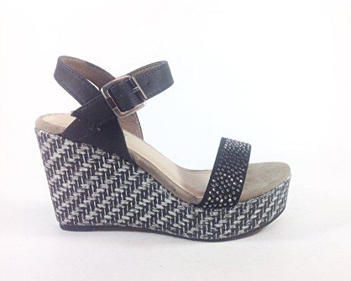 Sandalias con zapatos de mujer en zeppa nabuk YQ09 negro