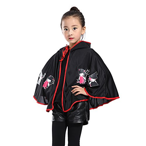 Per Halloween Cape Pumpkin Imp Cloak Suit Huke with Horn Halloween Costume for Children(Black) (Imp Costume)
