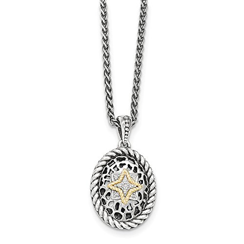 Sterling Silver and 14k Gold Diamond Necklace 18in (0.05CT) (Ct Key Diamond 0.05)