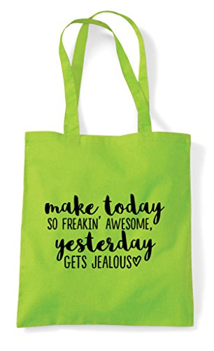 Make Statement Jealous Awesome Yesterday Gets Lime Tote Shopper Bag Today rPAHBr