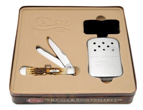 Case Amber Bone Trapper Pocket Knife with Zippo Hand Warmer