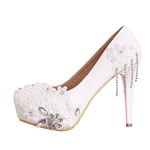 Detail Platform High Heel Shoe (CLOCOLOR Women's Beaded Lace High Heel Wedding Shoes Platform Prom Party Pumps Size 5.5 White)