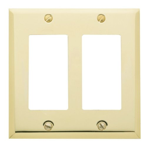 Baldwin 4741 Beveled Edge Double Rocker/GFCI Solid Brass Switch plate, Polished Brass