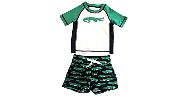 Starting Out Baby//Toddler Boys Two Piece Swim Trunks and Shirt Set Blue and Green with Alligator