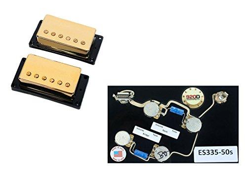 Duncan SH-55 Seth Lover Bridge & Neck Pickup Set Gold+ES-335 50s Wiring ()