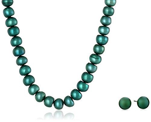 """Dyed Teal Blue Freshwater Cultured Button Pearl Necklace and Stud Earrings Set with Stainless Steel Clasp (6-7mm), 18"""" with 2"""" Extender"""