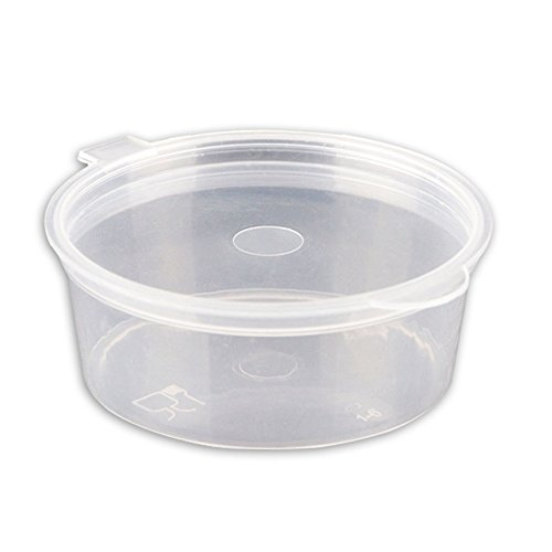 CONIE Food Storage Container Cup with Lid Freezable Microwaveable Heavy Duty Portion Cups 1.5oz 100 Count