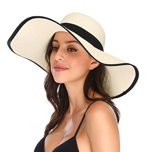 600dfe9b Lanzom Womens Wide Brim Straw Hat Floppy Foldable Roll up Cap Beach Sun Hat  UPF 50