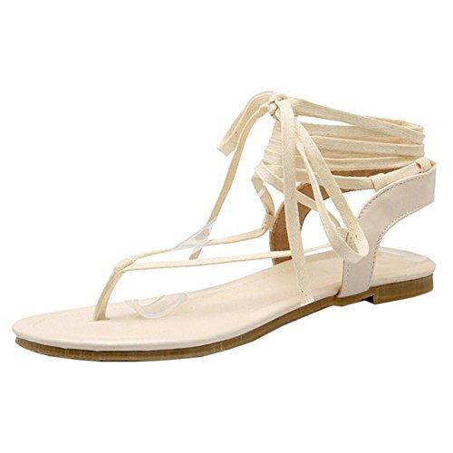 COOLCEPT Mujer Clip Toe Tacon Bajo Flip Flop Sandalias Gladiator Cordones Zapatos Beige