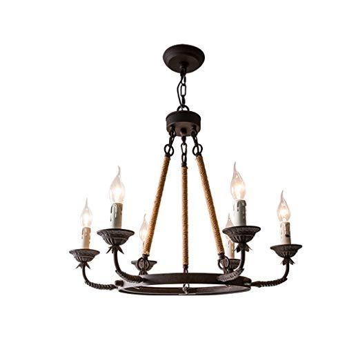 (&Chandelier Wrought Iron Hemp Off Chandelier Retro Industrial Simple Coffee Shop Lamp Candle Chandelier%Chandeliers (Color : Warm Light, Size : 5460cm))